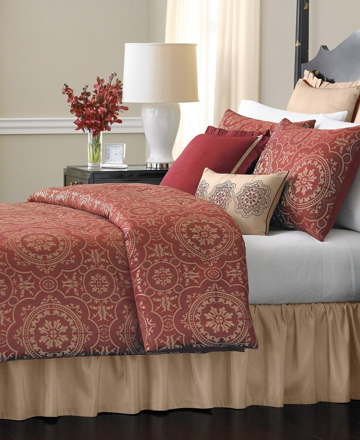 Amazon.com: Martha Stewart 24 Piece Bristol Queen Comforter Set Burgundy  Brick Red: Home U0026 Kitchen