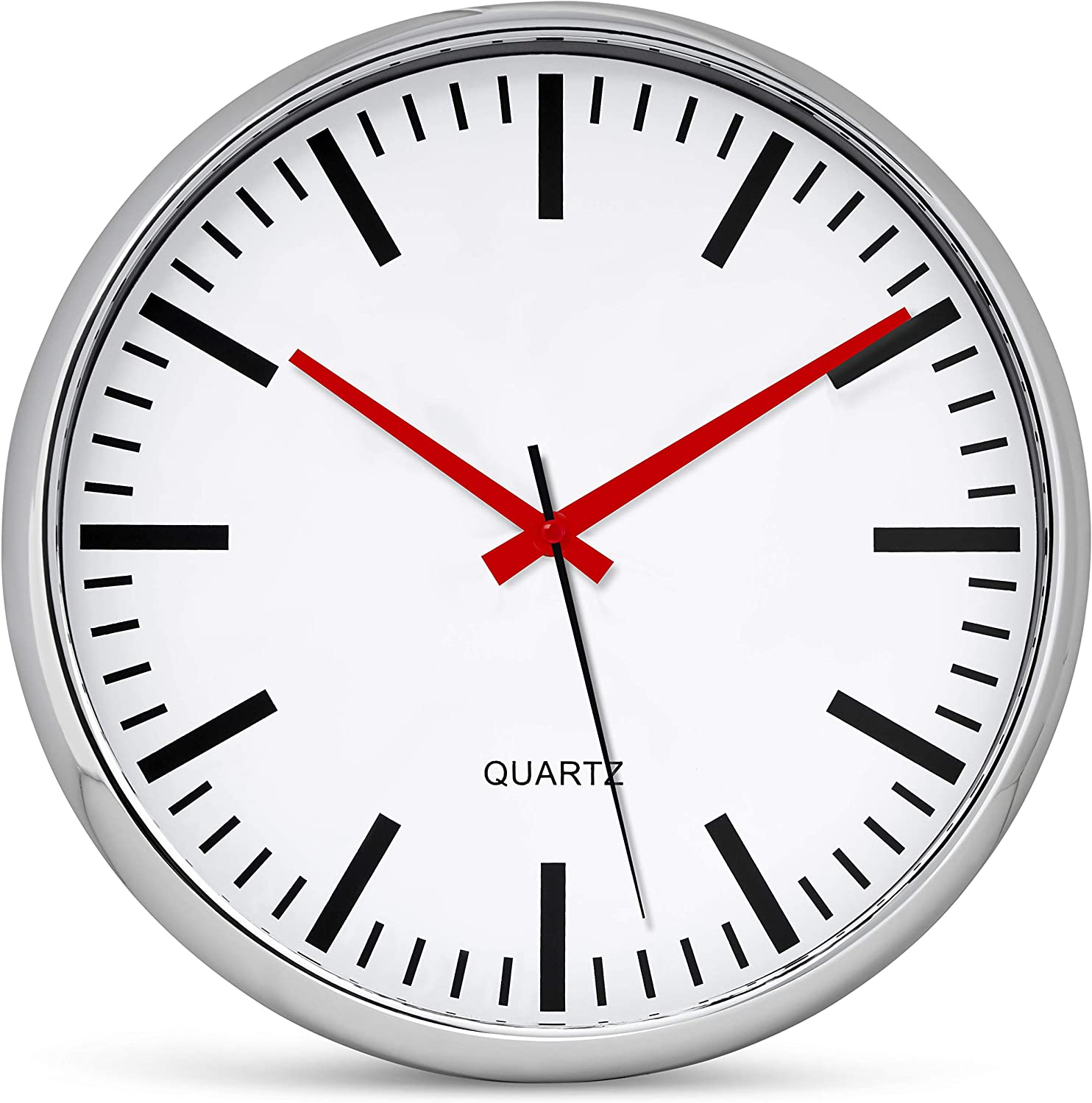 Bernhard Products Metallic Wall Clock 13 Inch Analog Silent Quartz Battery Operated Non-Ticking Quartz Battery Operated Round Decorative Modern Design for Home Kitchen Office (Metallic & Red)