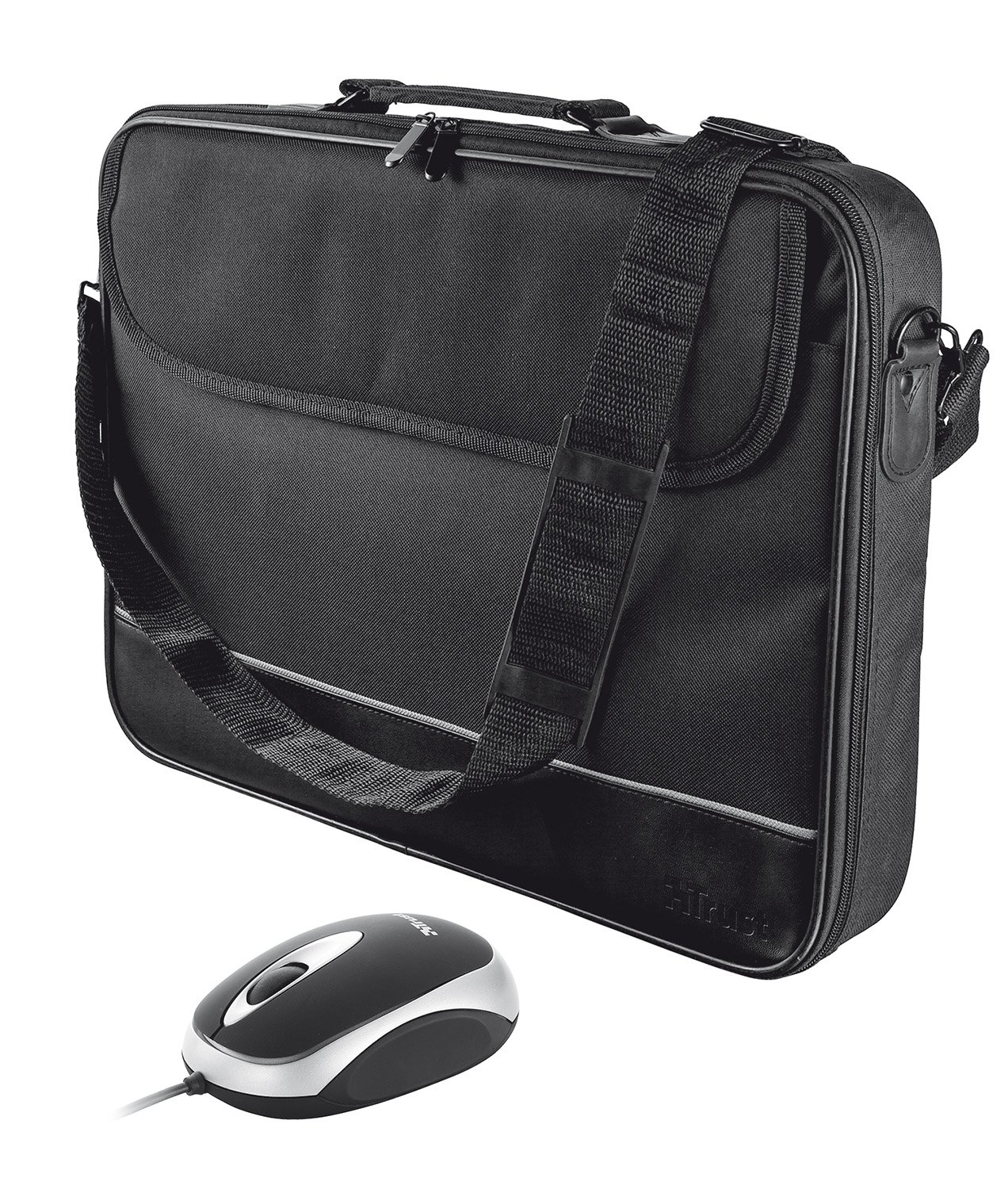 Trust 18902 Borsa per Notebook da 15-16 Pollici con Mouse, Colore Nero 16 custodia ottico pc