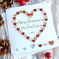 Handmade 'To The One I Love' Merry Christmas Card, Wife Husband Girlfriend Boyfriend Red Gold Heart