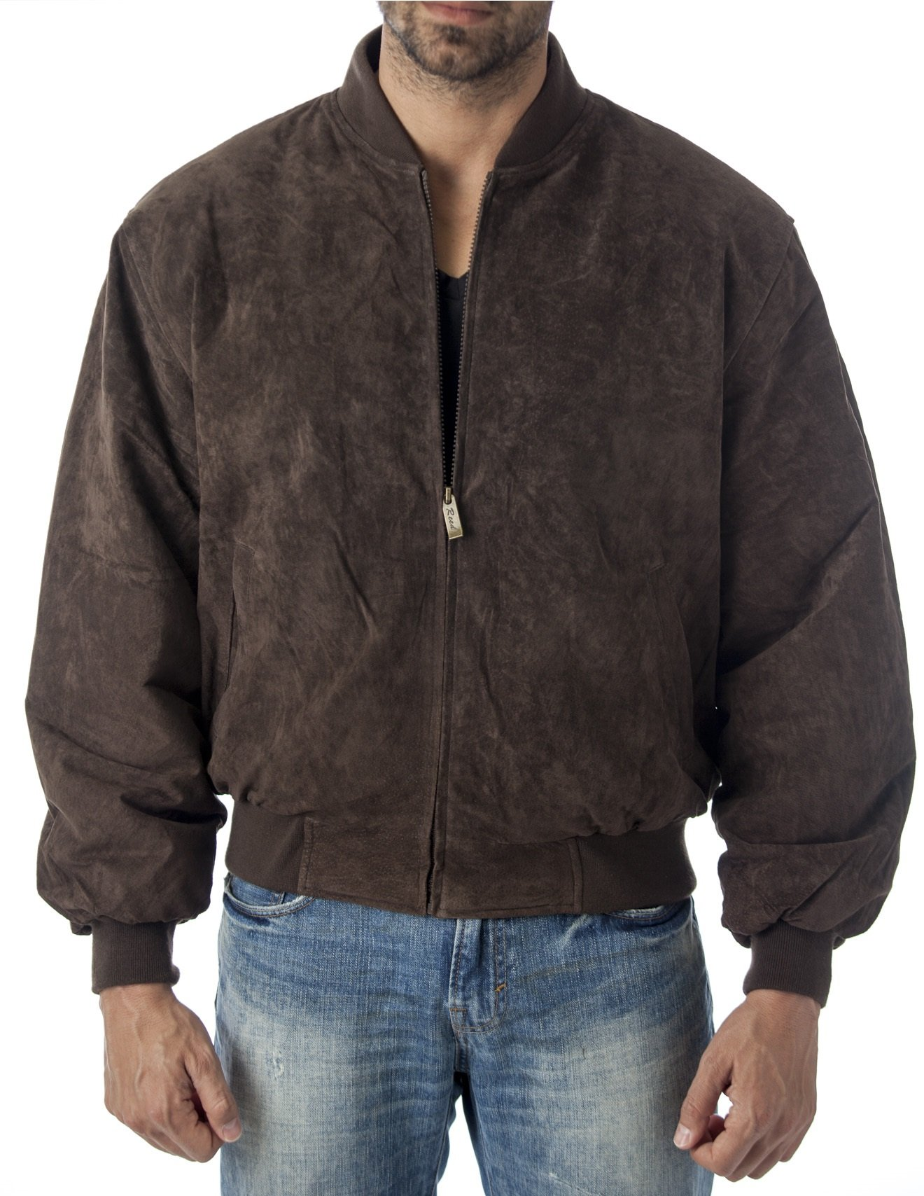 Baseball Suede Leather Bomber Jacket By Reed Est. 1950 (Imported) (Xl, Brown) by REED