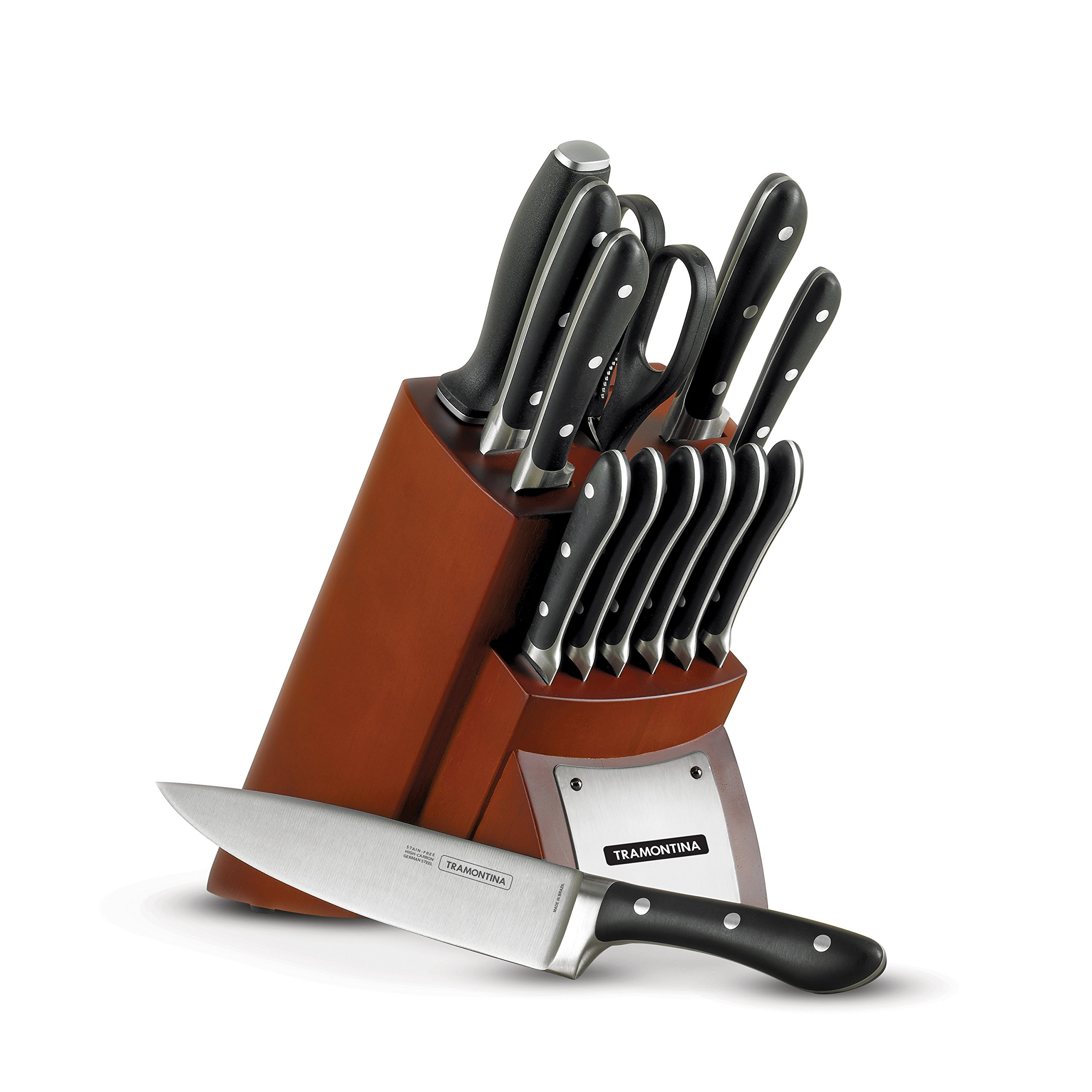 Tramontina 80008/547DS Gourmet Forged-Contemporary14 Piece Cutlery Knife Set with Hardwood Counter Block