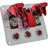 Pilot Automotive PL-SW53R Performance 3 Row Red Anodized Safety Cover Toggle Switch with Red Indicator Lights