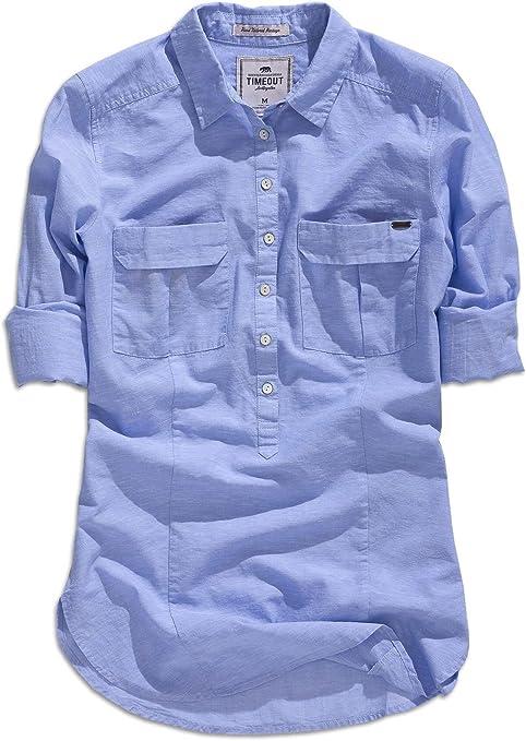 timeout los angeles, mujer camisa manga larga, blusa en azul ...