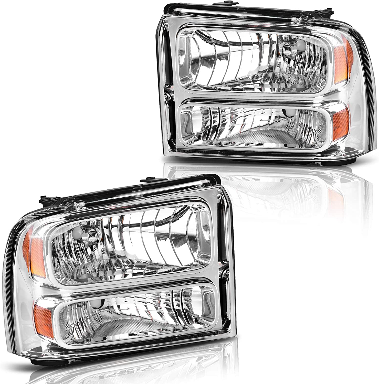 Driver and Passenger Side LBRST Headlight Assembly for Ford F250 F350 F450 F550 Super Duty 2005 2006 2007// for 05 ford Excursion Headlamp Replacement Chrome Housing Clear Lens