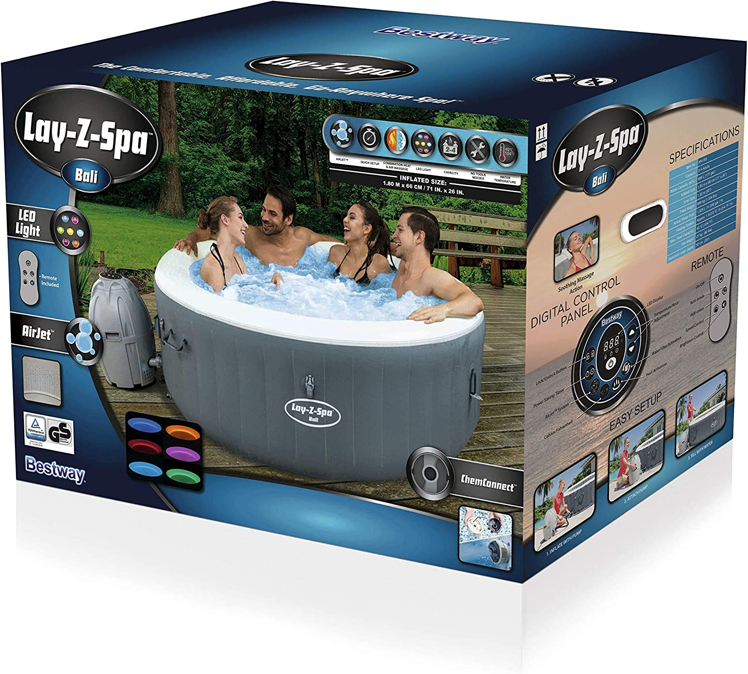 BESTWAY 54183 - Spa Hinchable Lay-Z-Spa Bali Para 4-6 personas Redondo: Amazon.es: Jardín