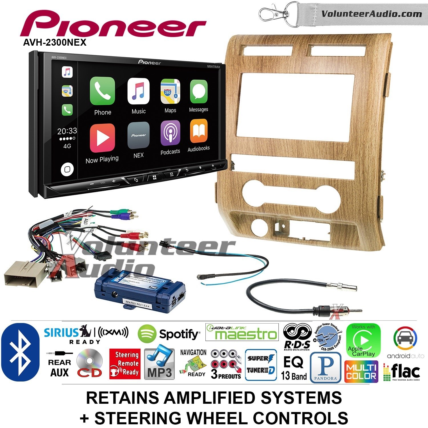 Pioneer AVH-2300NEX Double Din Radio Install Kit with Apple CarPlay Android Auto Bluetooth Fits 2009-2010 Ford F-150 (Ash Satin)