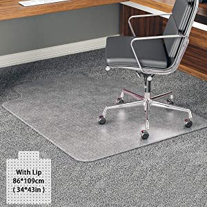 YOUKADA Office Chair Mat for Carpet, Carpet-Protector, Transparent Carpet Floor Mat with Lip for Carpet, 86 x 109 cm/34 x 43 inches