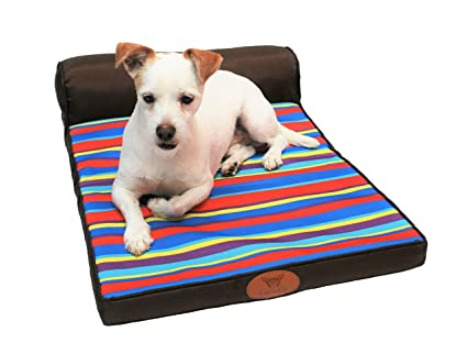 Amazon.com : Luxury Foam Dog Bed, Crate Pad Mat with Headrest ...