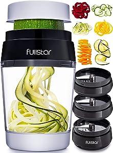 Fullstar Vegetable Spiralizer Vegetable Slicer - 6 in 1 Zucchini Spaghetti Maker Zoodle Maker Veggie Spiralizer Adjustable Handheld Spiralizer Zucchini Noodle Maker Zucchini Spiralizer with Container