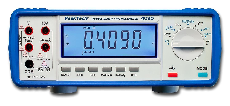 Peak Tech P 4090 True Rms Digital Tisch Multimeter Lcd Anzeige 22000 Counts Durchgangsprüfer Usb Schnittstellen Pc Software Batteriebetrieb Messgerät Spannungstest En 61010 1 Cat I 600 V Gewerbe Industrie Wissenschaft