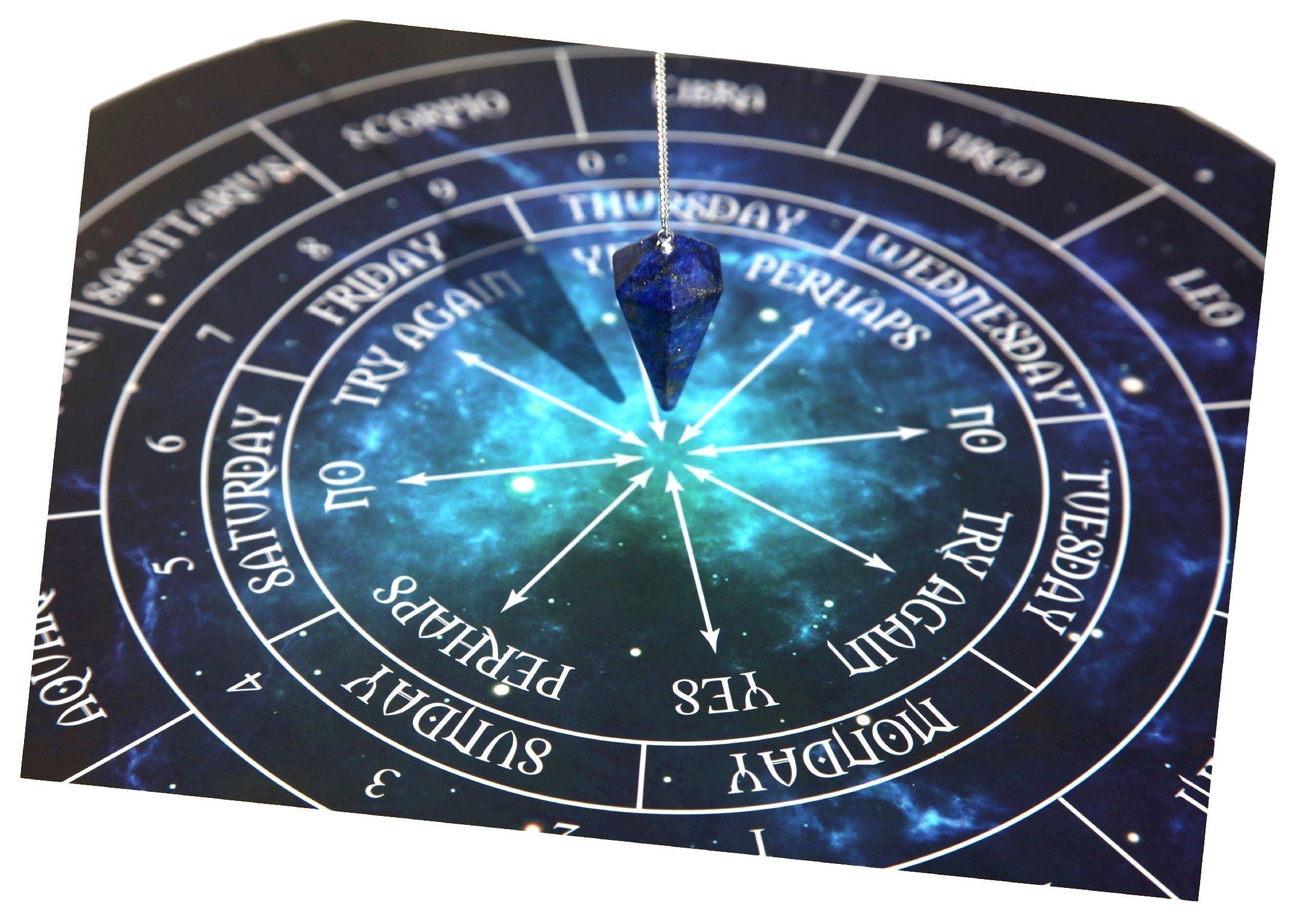 Thorness Lapis Lazuli Smooth Cone Pendulum Dowser on Silver chainwith Pendulum Board