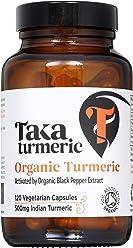 Taka Turmeric - 120 Organic Turmeric Capsules activated by Organic Black Pepper Extract - 120 Veg Capsules