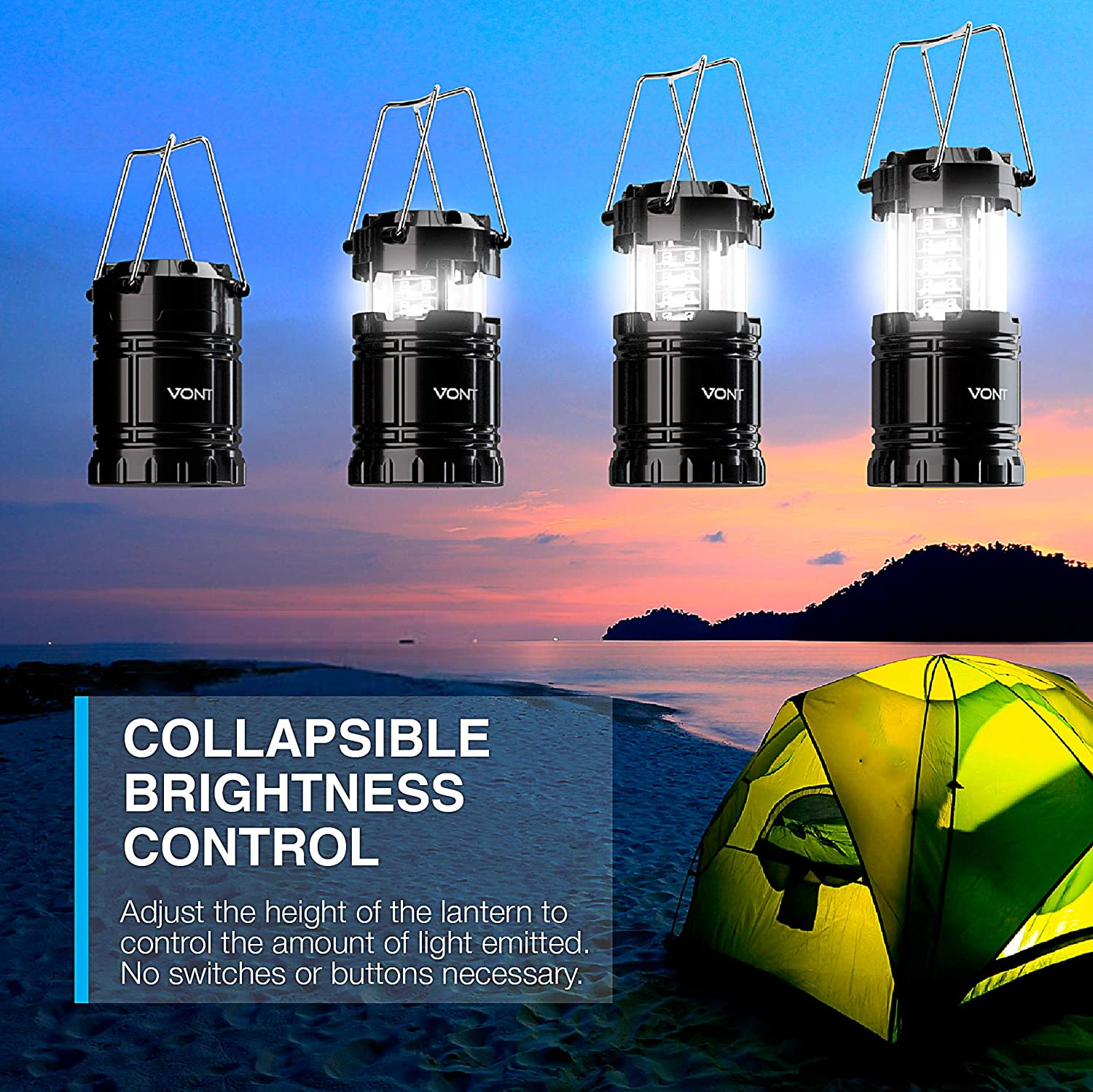 Vont 2 Pack LED Camping Lantern, Super Bright Portable Survival Lanterns, Must Have During Hurricane, Emergency, Storms, Outages, Original Collapsible Camping Lights / Lamp (Batteries Included)