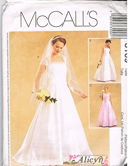 Amazon.com: McCall\'s 3109 Bridal Gowns Sewing Pattern: Home & Kitchen