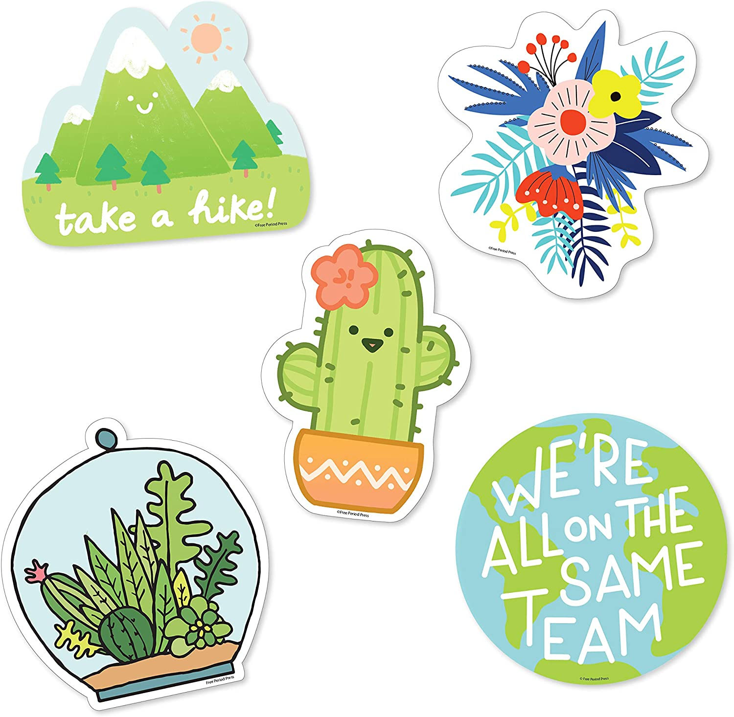 Free Period Press Vinyl Laptop and Water Bottle Decal Sticker Pack (5 Pack) (Nature)