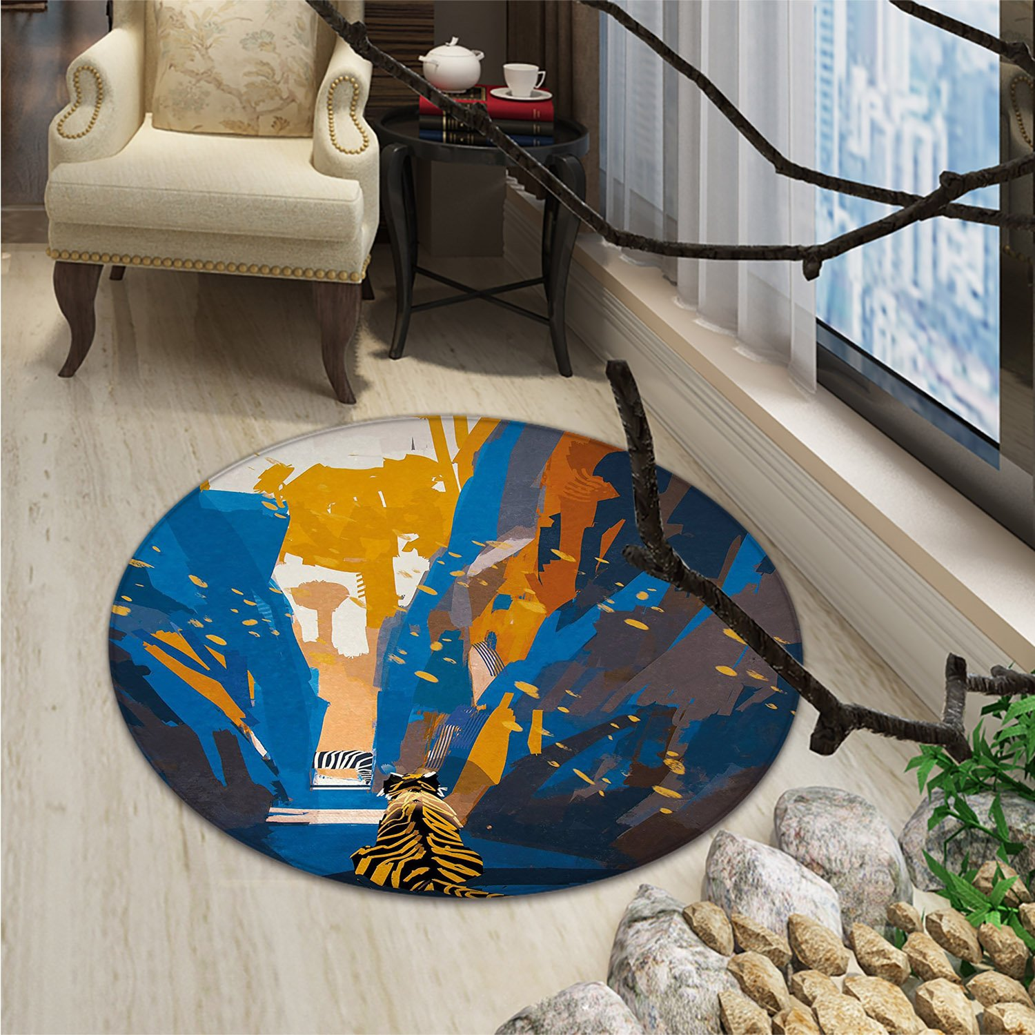 Fantasy Round Rug Kid Carpet African Tiger in City Streets Narrow Walls Digital Wilderness Jungle SavannahOriental Floor and Carpets Orange Blue