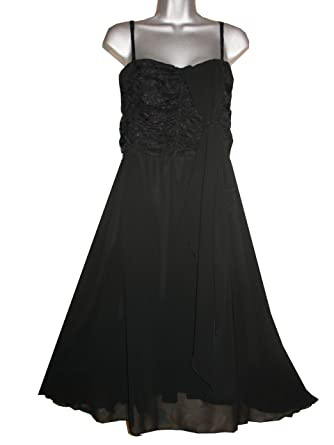 Curvaceous Clothing Plus Size Waterfall Lace Prom Dress (16, black)
