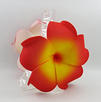 bca3b1db6 Amazon.com : Hawaiian Plumeria Foam Flower Hair Claw Choose Color (05 Red  Yellow) : Beauty