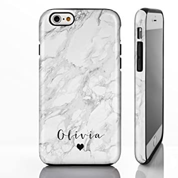 low priced d6c37 05d8c Personalised Monogram Grey Marble Tough Phone Case for iPhone 7 / 8 - 8.  Small Heart Below Handwriting