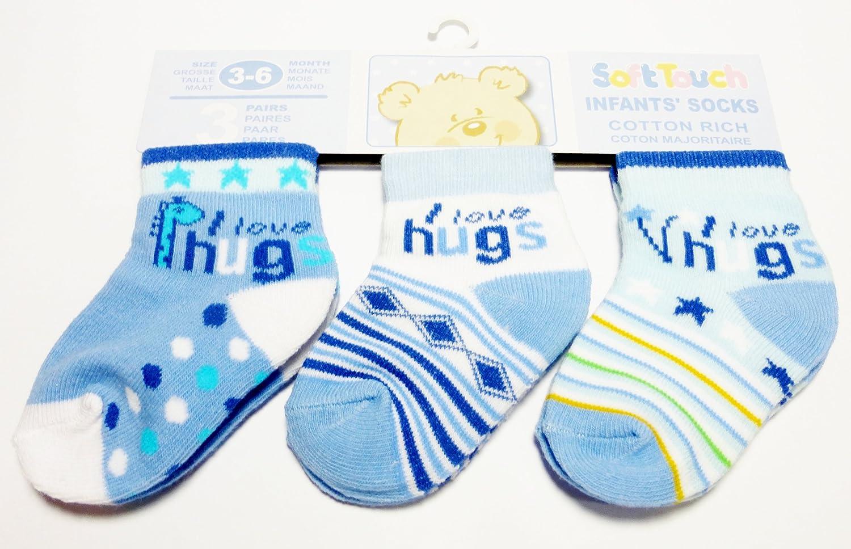 I Love Hugs Socks Triple Pack for Baby Boy 0-3 Months
