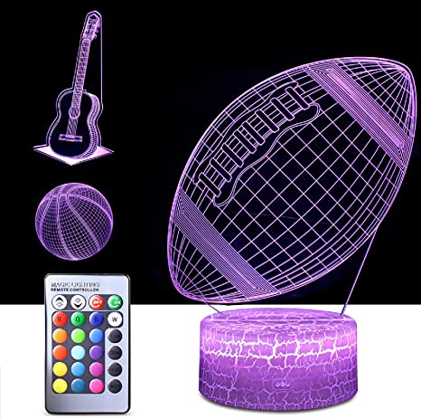 3d Night Light For Kids 3 In 1 Illusion Lamp For Home Decoration 3d Optical Illusion Led Lamps With Remote Control Bedroom Decorations Birthday Christmas Gift Ideas For Girls Teen Ball Guitar