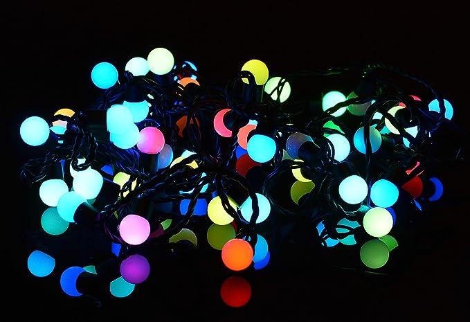 Catena luminosa led sfere 7 3 m 50 led multicolore con variazione