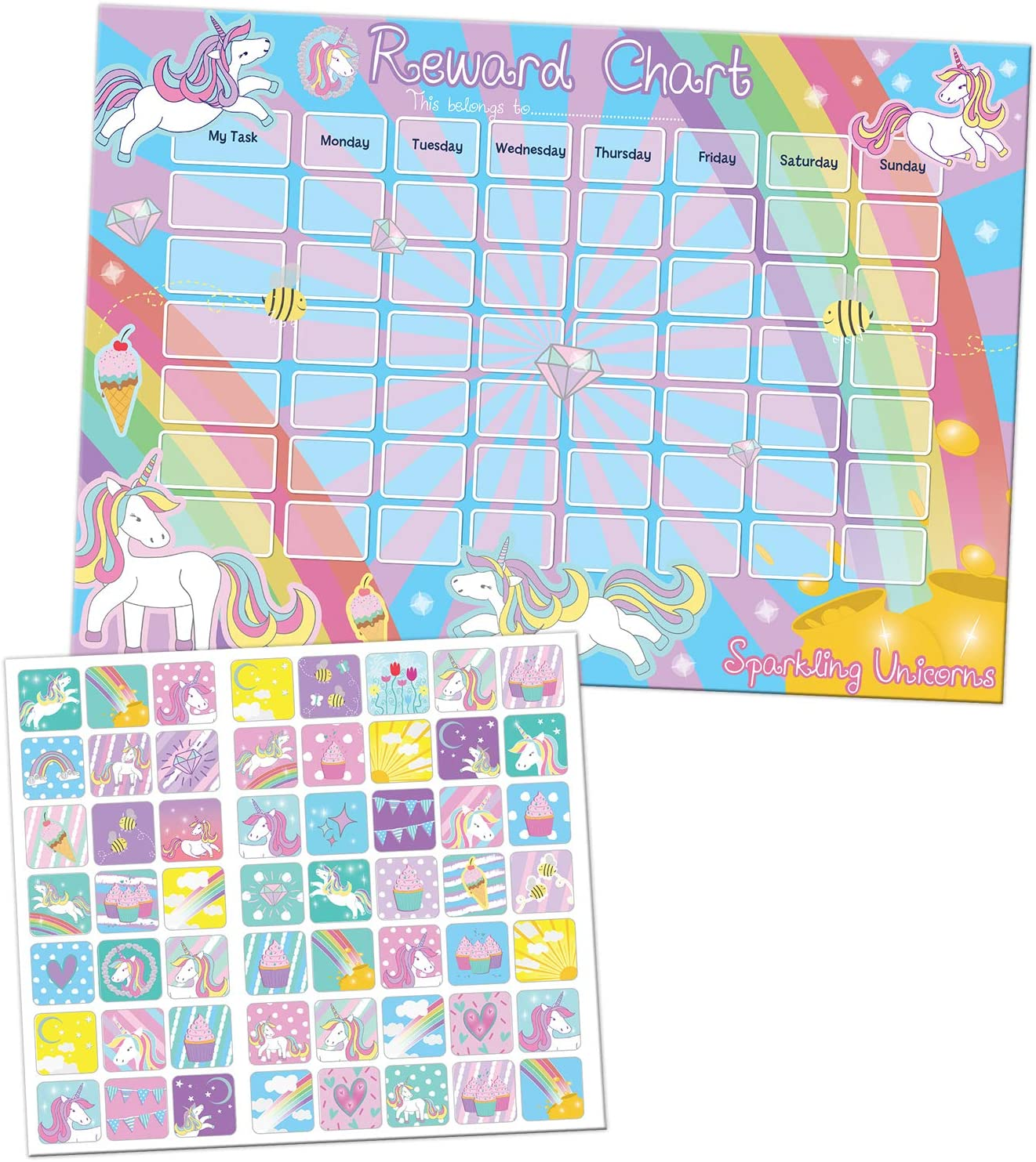 Paper Projects 01.70.30.018 Sparkling Unicorns Reward Chart and Stickers