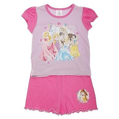 Disney - Conjunto de pijama de manga corta y pantalón corto con diseño de Princesas Disney modelo Follow Your Heart para niña: Amazon.es: Ropa y accesorios