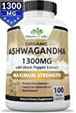 Organic Ashwagandha Root 1300mg - 100 vegan capsules 100% Pure Organic Ashwagandha root extract and powder per 2 vegan capsules