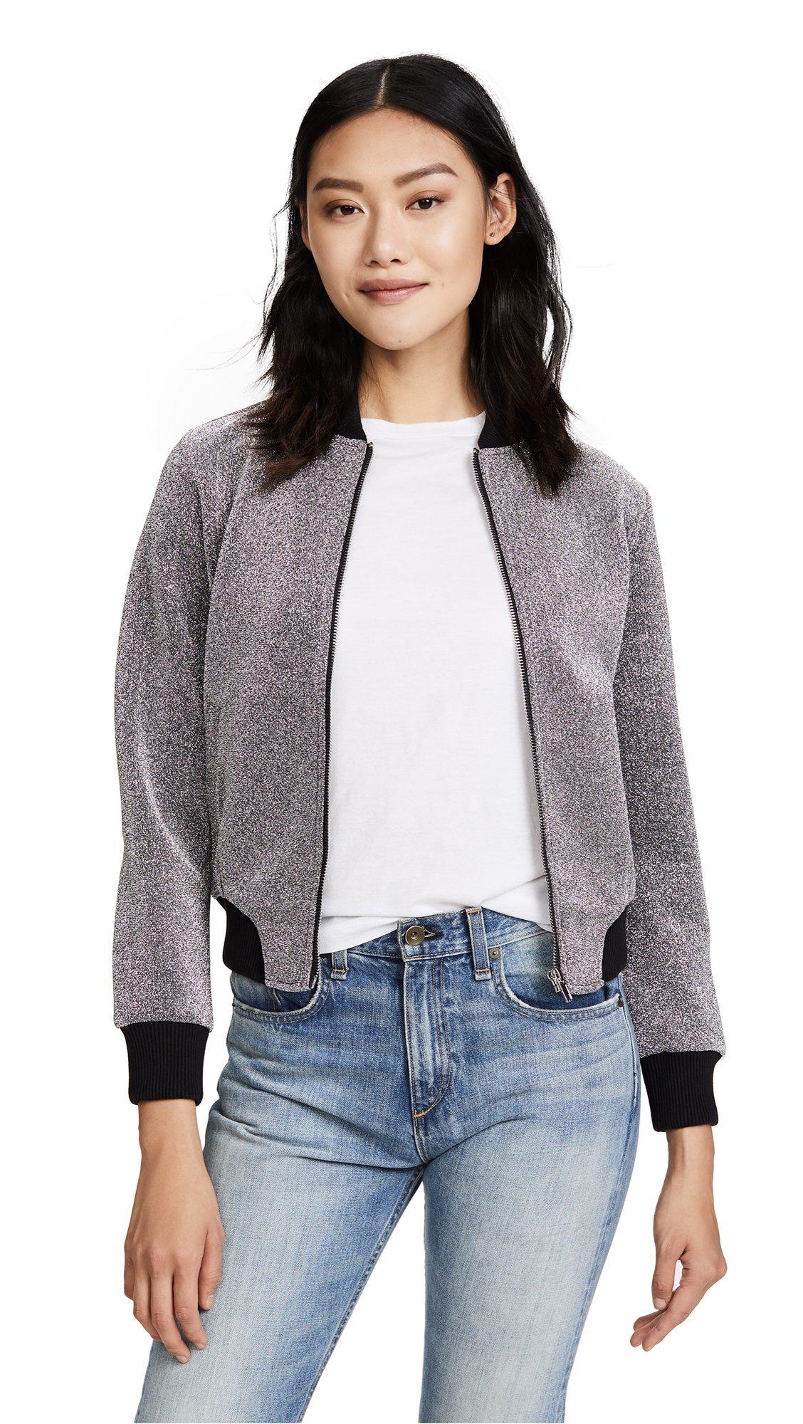 BB Dakota Women's Briarlyn Lurex Bomber Jacket, Silver, Large