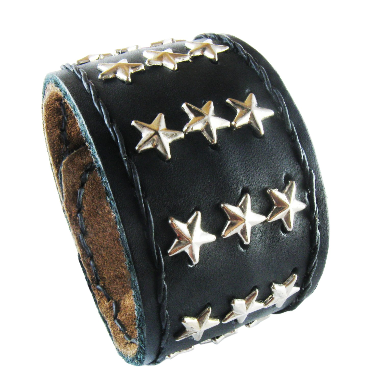 D'SHARK 1.8'' Wide Star Design Biker Leather Bangle Cuff Bracelet Wristband for Unisex (Black)