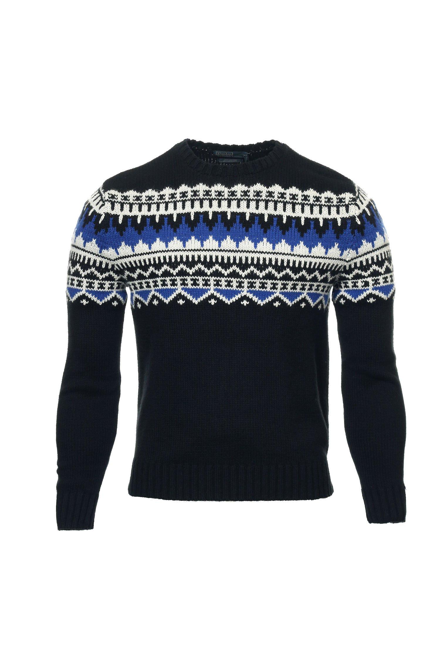 Polo Ralph Lauren Mens Knit Cashmere Blend Crewneck Sweater - XXL - Black/Blue/Cream