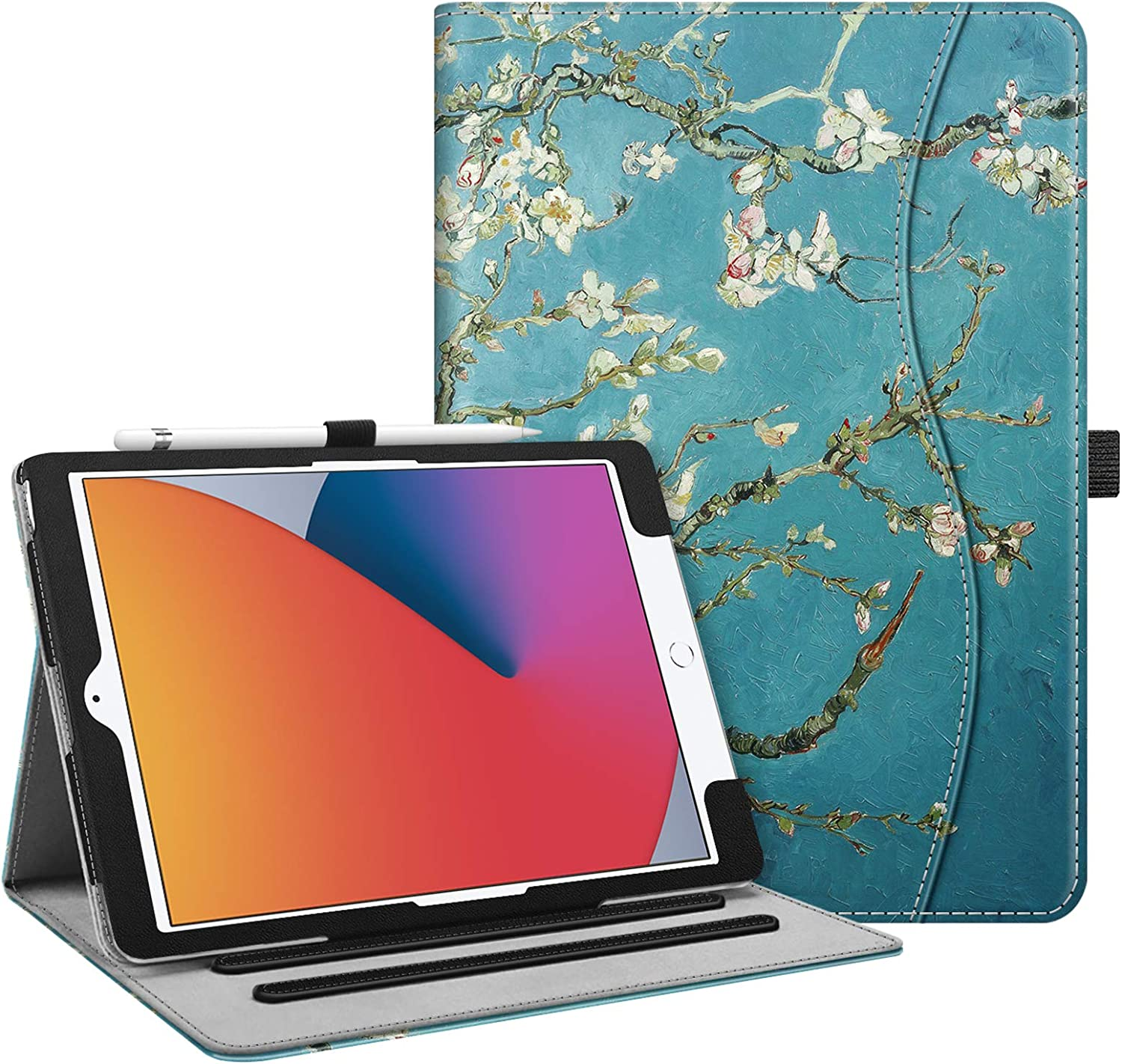 Fintie Case for New iPad 8th Gen (2020) / 7th Generation (2019) 10.2 Inch - [Corner Protection] Multi-Angle Viewing Folio Stand Cover with Pocket, Pencil Holder, Auto Wake/Sleep, Blossom