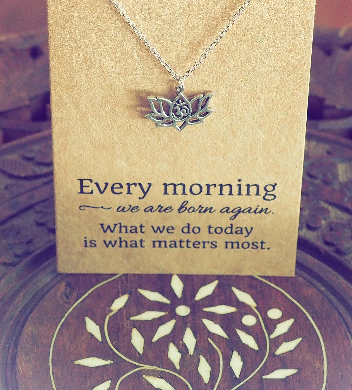 Amazon Quan Jewelry Yoga Lotus Flower Necklace With Om Symbol