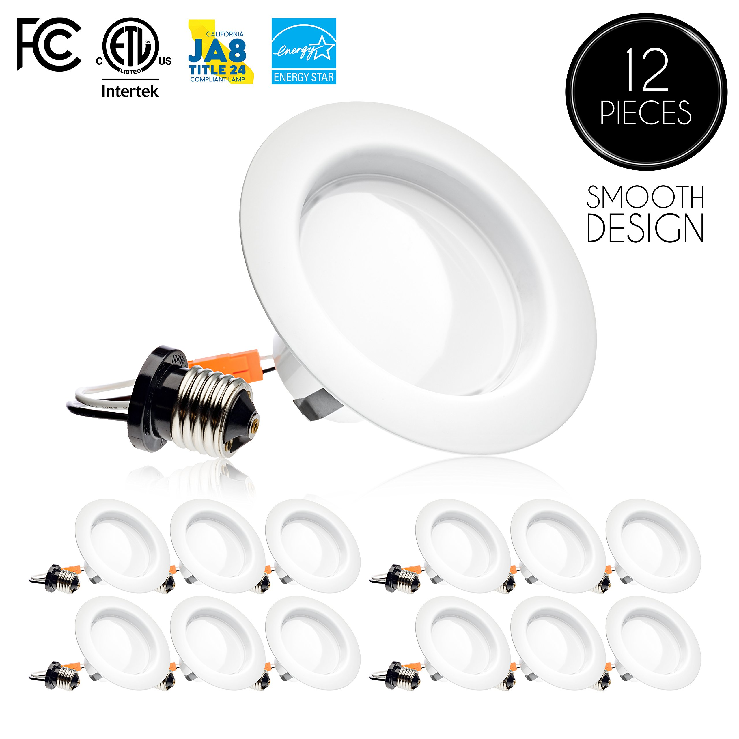 Parmida (12 Pack) 4 inch LED Downlight Trim, Dimmable, 10.5W (75W Replacement), 700 Lm, EASY INSTALLATION, 3000K (Soft White), Retrofit LED Recessed Lighting Fixture, ENERGY STAR & ETL-Listed