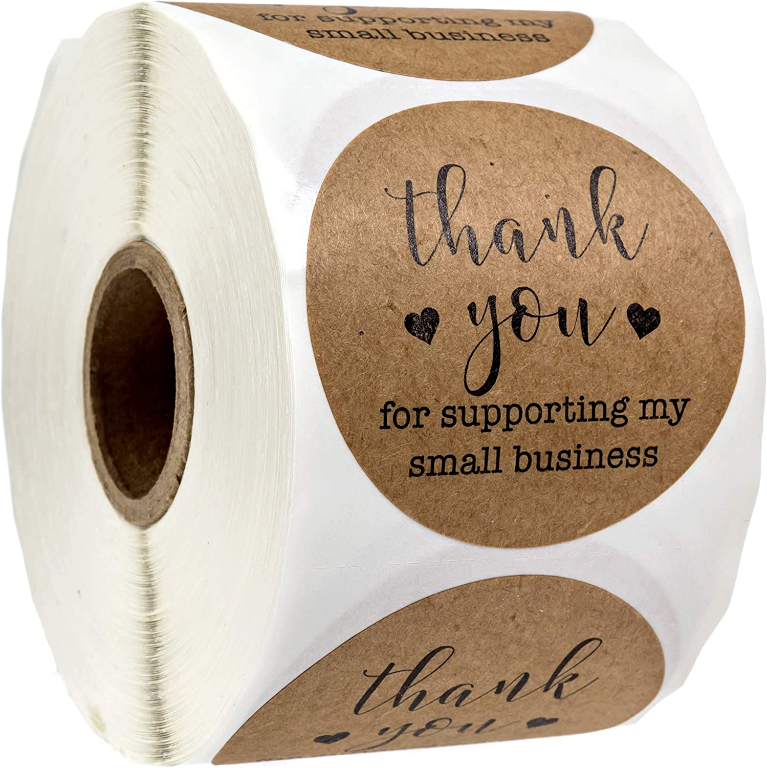 Yellow 500pcs Thank You for Supporting My Small Business Kraft Paper Sticker Round Label Sticker for Small Shop Handmade Sticker