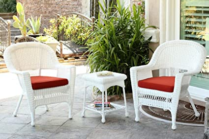 Image Unavailable. Image not available for. Color 3-Piece White Resin Wicker Patio Chairs ... & Amazon.com : 3-Piece White Resin Wicker Patio Chairs and End Table ...