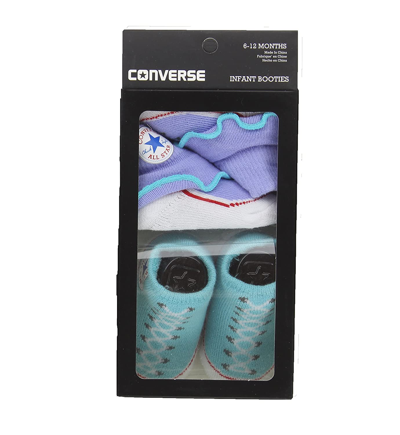 9cbf051fa2d27 Amazon.com: Converse Baby Girls Frilly Sock Booties-2 Pack: Clothing
