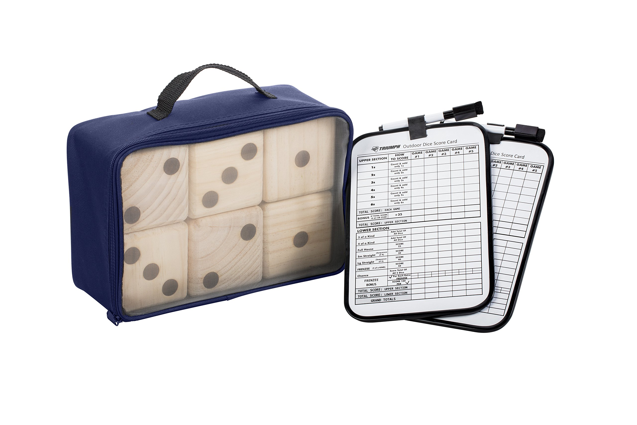 Triumph Big Roller Six Large Wooden Lawn Dice Set for Outdoor Use with Included Dry-Erase Scorecards, Markers, and Carry Bag by Triumph Sports