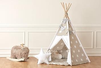 KraftKids Spielzelt-Tipi große weiße Sterne auf Beige Uniweiss,  Indianer-Zelt zum Spielen für Kinder, Kleinkinder und Babys, inkl.  Spielmatte