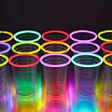 GLOWING PARTY CUPS 16 oz Plastic Clear Disposable Glow Stick Cup Neon Colors Kids Birthday Multi Color Sticks Light Up Glows