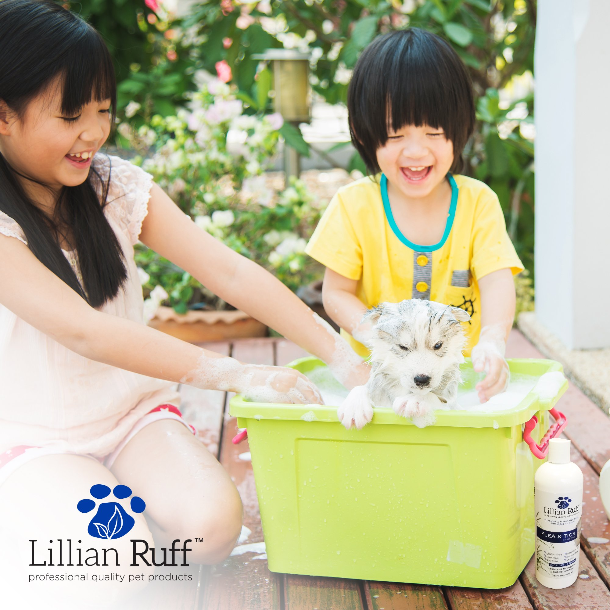 Lillian Ruff Flea and Tick Shampoo for Dogs with Aloe Vera - Soothe the Itch and Repel the Critters with Natural Essential Oils - Balanced for Puppies and Mature Dogs (16oz) by Lillian Ruff (Image #5)
