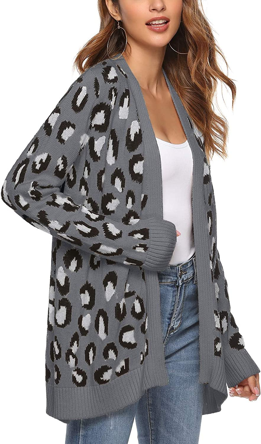 Women's Leopard Cardigan Sweater Open Front Knit Kimono Duster Cheetah Long Sleeves Chic Coat