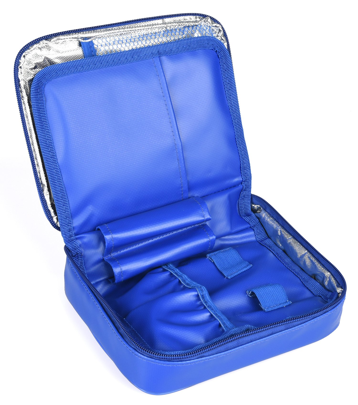 Goldwheat Insulin Cooler Travel Case Waterproof Large Diabetic Organizer Medical Cooling Bag,No Ice Pack(Blue)