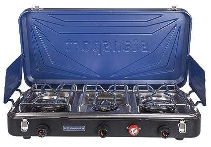 Stansport Outfitter Series - Estufa de propano con 3 quemadores, Color Azul, Plateado y