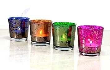 Esplanade Teelichthalter/Kerzen Halter U2013 Set Von 4 U2013 Bunte Herzstück Für  Tisch