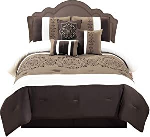 WPM 7 Pieces Complete Bedding Ensemble Brown taupe Victorian print Luxury Embroidery Comforter Set Bed-in-a-bag Bedding-Elizabeth (King)