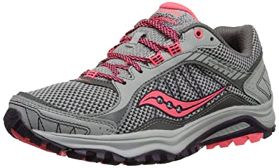 Saucony Women's Grid Excursion TR9 Trail Running Shoe, Grey/Plum/Coral, 5