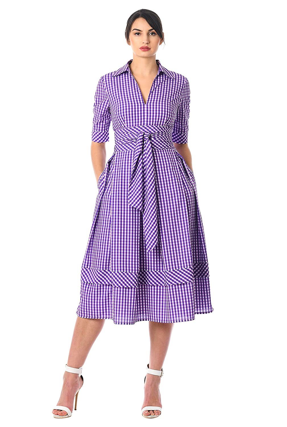 1940s Style Dresses | 40s Dress, Swing Dress eShakti Womens Obi Belt Gingham Check Print Crepe Dress $74.95 AT vintagedancer.com